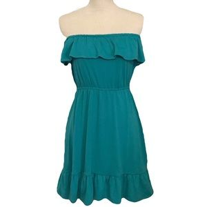 Accidentally in Love turquoise strapless ruffle